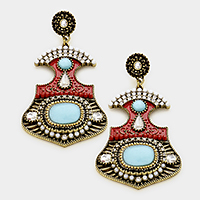 YME-20915 Pave trim statement earrings. China Jewelry Factory Fashion Accessories Manufactusre Fashion Jewelry Supplier.