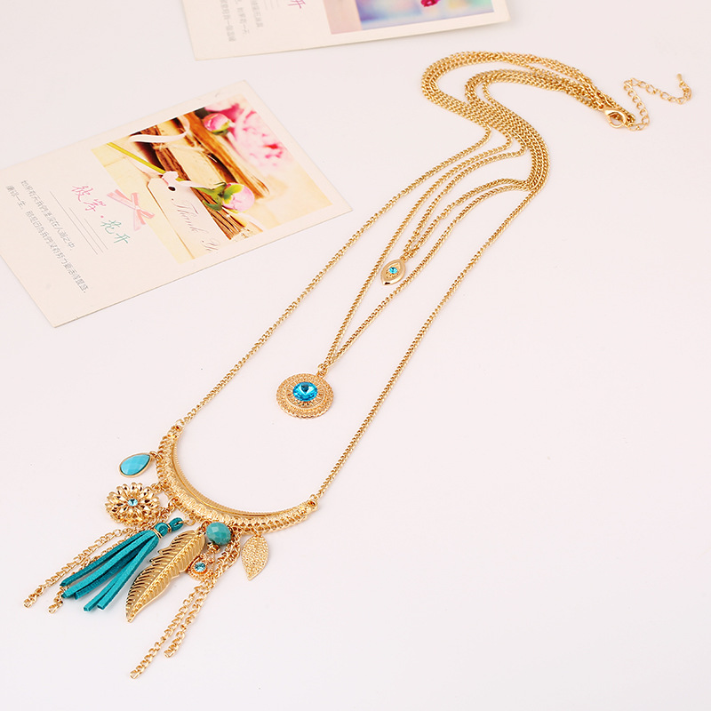 YMN-06038 nice Bohemia style gold plated 3 Layers  long necklace yiwu Jewelry Factory Fashion Accessories Manufactusre Fashion Jewelry Supplier.