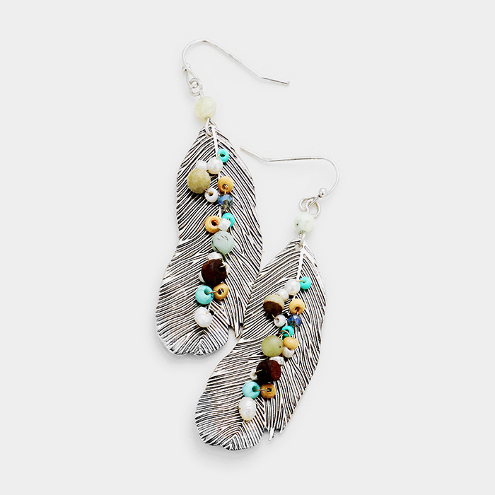 YME-06141-Multi Beaded Centered Metal Feather Dangle Earrings Yiwu Jewelry Factory Fashion Accessories Manufacture Fashion Jewelry Supplier.