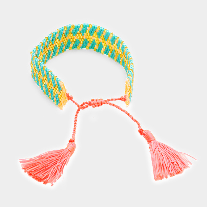 YMBR-06022-Boho Beaded Double Tassel Bracelet Yiwu Jewelry Factory Fashion Accessories Manufacture Fashion Jewelry Supplier.