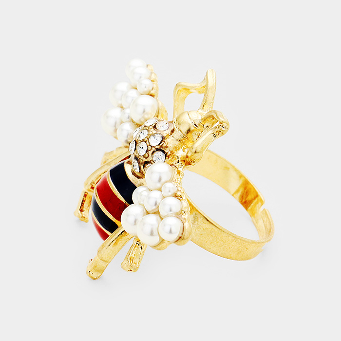 YMR-06011-Stone Honey Bee Pearl Cluster  Adjustable Ring Yiwu Jewelry Factory Fashion Accessories Manufacture Fashion Jewelry Supplier.