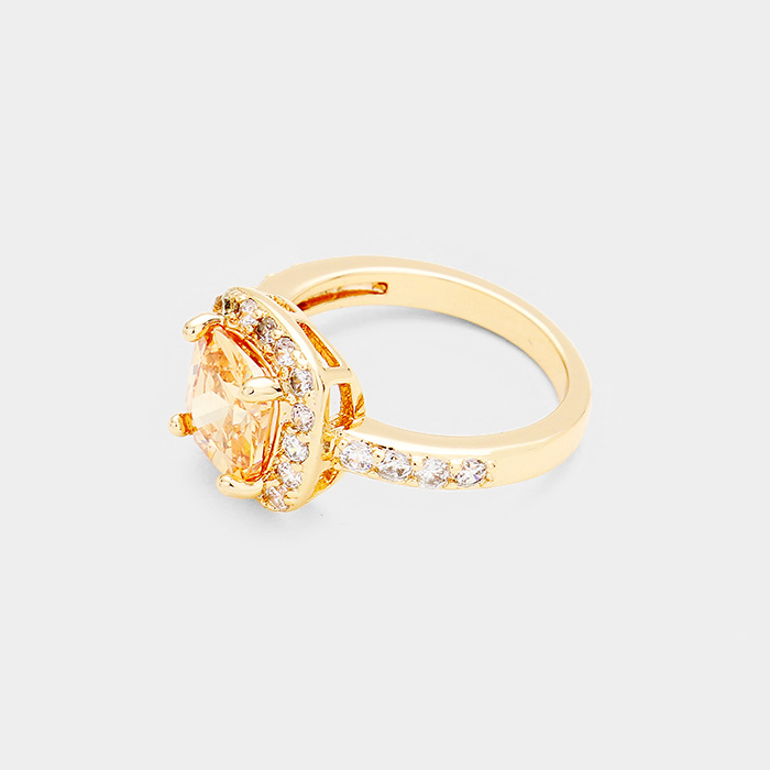 YMR-06026-Gold Plated Cubic Zirconia Square Ring Yiwu Jewelry Factory Fashion Accessories Manufacture Fashion Jewelry Supplier.