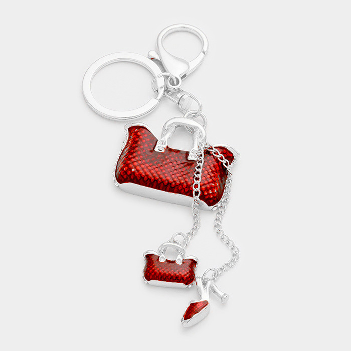 YMKY-06021- Double Tote Bag Stiletto Heel Keychain Yiwu Jewelry Factory Fashion Accessories Manufacture Fashion Jewelry Supplier.