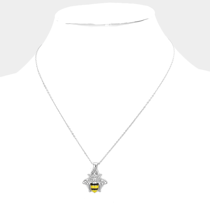 YMN-06075-Rhodium plated Crystal enamel honey bee pendant necklace Yiwu Jewelry Factory Fashion Accessories Manufacture Fashion Jewelry Supplier.