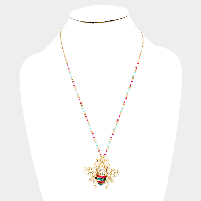 YMN-06076-Enamel Pearl Cluster Honey Bee Pendant Necklace Yiwu Jewelry Factory Fashion Accessories Manufacture Fashion Jewelry Supplier.
