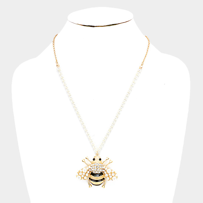 YMN-06078-gold plated Pearl Cluster Honey Bee Pendant Necklace Yiwu Jewelry Factory Fashion Accessories Manufacture Fashion Jewelry Supplier.