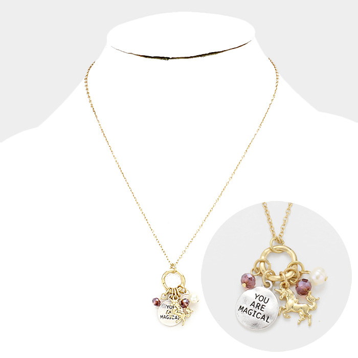 YMN-06079-YOU ARE MAGICAL Pearl Metal Unicorn Pendants Necklace Yiwu Jewelry Factory Fashion Accessories Manufacture Fashion Jewelry Supplier.