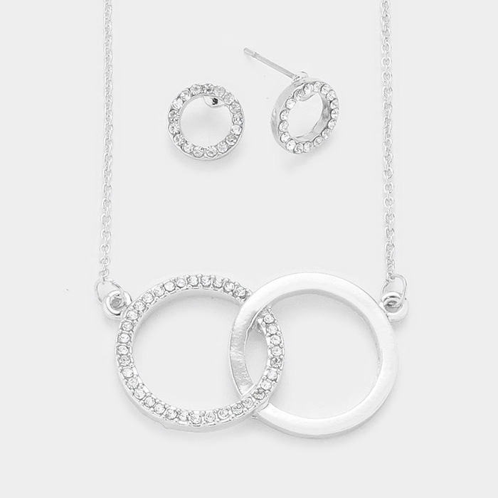 YMN-06080- Rhinestone Pave Hoop Metal Hoop Link Pendant Necklace Yiwu Jewelry Factory Fashion Accessories Manufacture Fashion Jewelry Supplier.