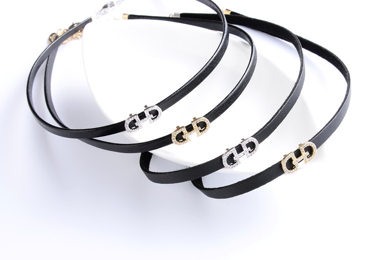 YMN-06082 Korea style black leather with clear stone choker necklace for women Yiwu Jewelry Factory Fashion Accessories Manufacture Fashion Jewelry Supplier.