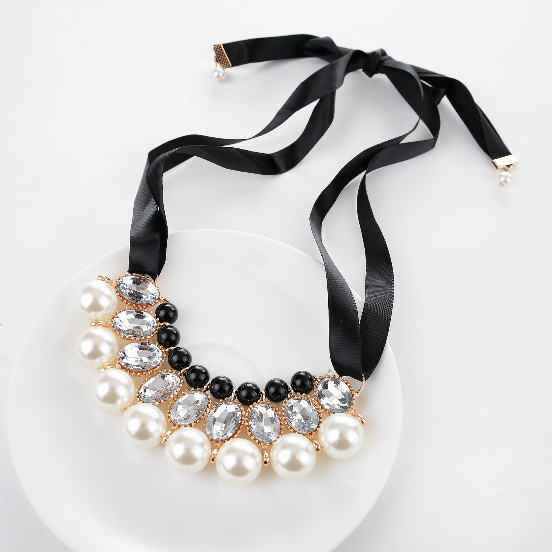 YMN-06083 europe style pink ribbon with big pearl    necklace Yiwu Jewelry Factory Fashion Accessories Manufacture Fashion Jewelry Supplier.