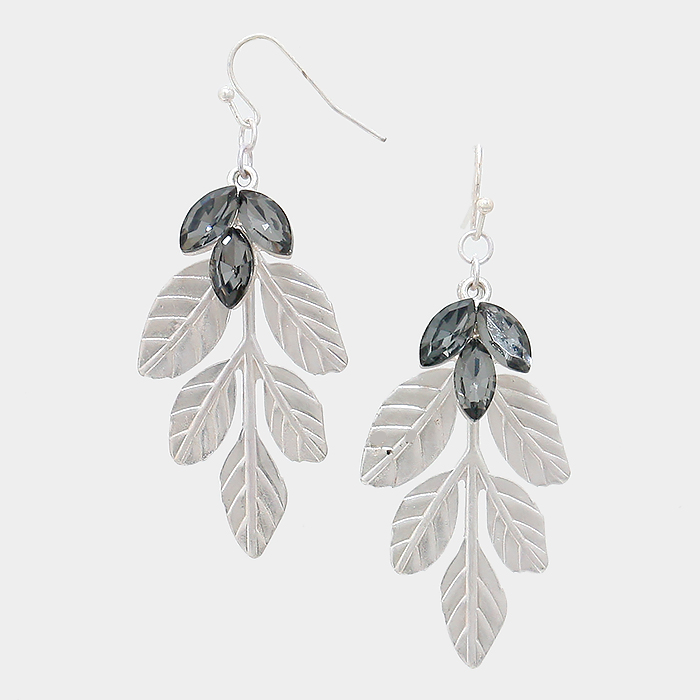 YME 20453 Crystal And Metal Leaf Earrings Guangzhou Jewelry Factory Fashion Accessories Manufactusre