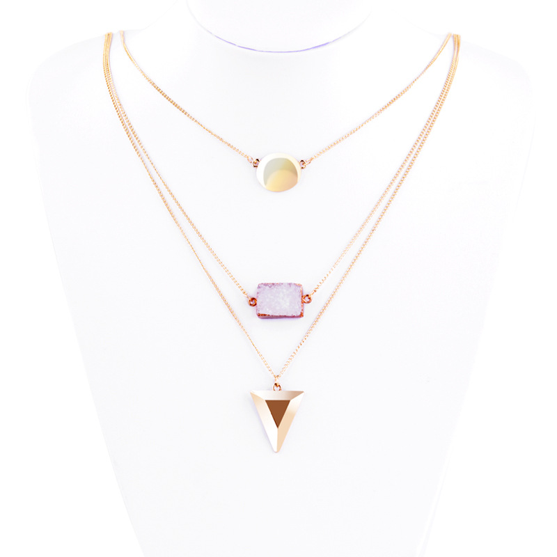 Wyme 1343 Fashion Gold Plating Multilevel Triangle Rhinestone Necklace Guangdong Jewelry Factory Accessories