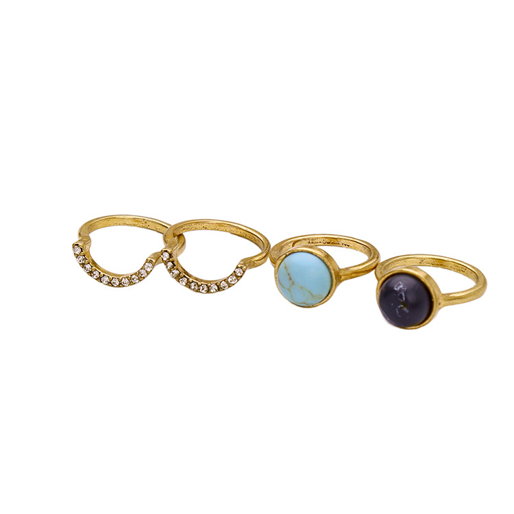 Mlr 02179 Fashion Vintage Gold Plating Crystal And Turquoise Ring
