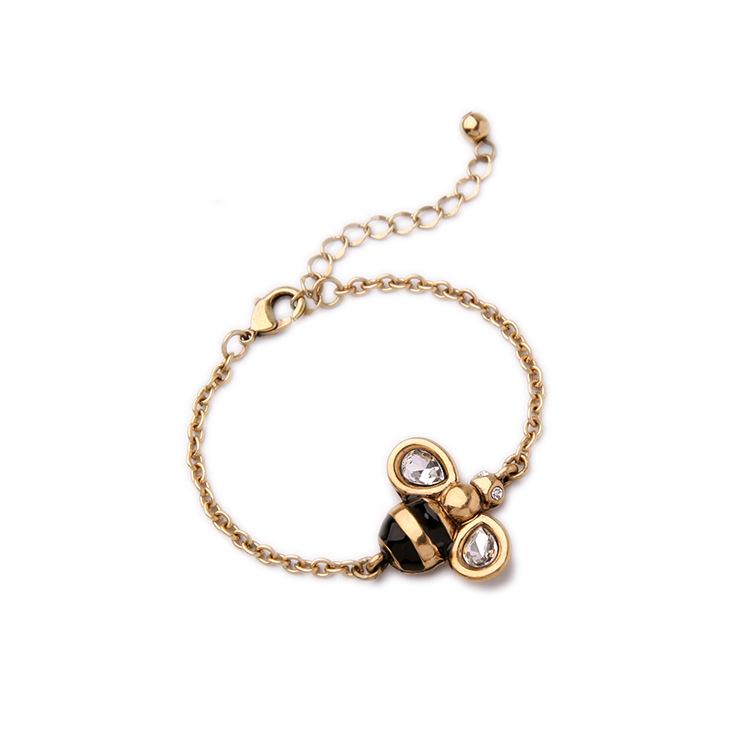 MLBR-02377 fashion korean style simple enamel bee bracelet ...
